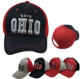 36 Units of Ohio Air Mesh Back Solid Front Ball Cap New York - Baseball Caps & Snap Backs