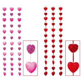 24 Units of Foam Heart Garland Valentine Decoration - Valentine Decorations