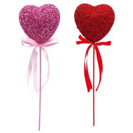 48 Units of Heart Pick Glitter Valentine - Valentine Decorations