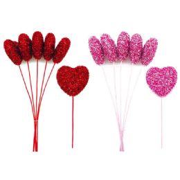 24 Units of 5 Piece Heart Pick Valentine - Valentine Decorations