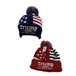 24 Units of TRUMP 2020 Americana Toboggan Hat with PomPom (Air Shipped) - Winter Beanie Hats