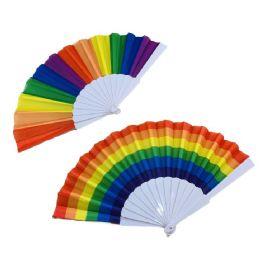 24 Units of Rainbow Folding Fan - Home Decor