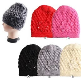 24 Units of Woman's Solid Knitted Hat with Butterfly - Fashion Winter Hats