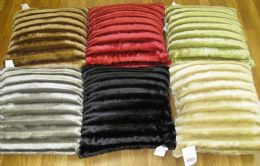 24 Units of FUR PILLOW ASSORTED COLORS - Pillows