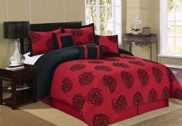 4 Units of BERTHA QUEEN RED 7 PIECE COMFY BEDDING SET - Comforters & Bed Sets