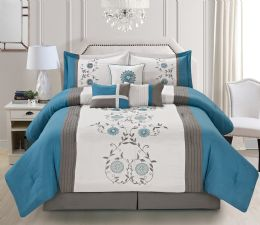 4 Units of MIA QUEEN TEAL 7 PIECE COMFY BEDDING SET - Comforters & Bed Sets