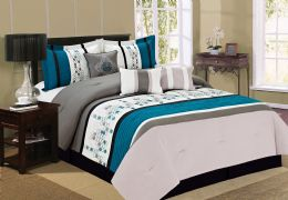 4 Units of ECLIPSE QUEEN TEAL 7 PIECE COMFY BEDDING SET - Comforters & Bed Sets
