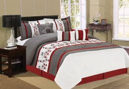 4 Units of ECLIPSE QUEEN RED 7 PIECE COMFY BEDDING SET - Comforters & Bed Sets