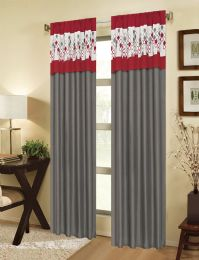 24 Units of ECLIPSE RED RODPOCKET PANEL WITH ATTACHED VALANCE - Home Decor