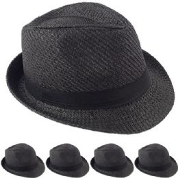 36 Units of Black Straw Fedora Hat - Fedoras, Driver Caps & Visor