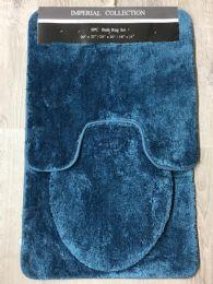 12 Units of IMPERIAL BATHROOM 3 PIECE RUG SET IN SMOKE BLUE - Bath Mats
