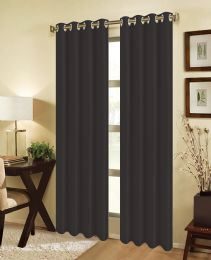 24 Units of JEANNIE BLACKOUT GROMMET WINDOW PANEL IN BLACK - Home Decor