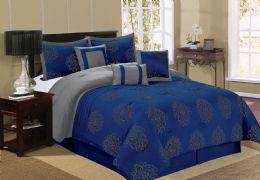 4 Units of BERTHA QUEEN NAVY 7 PIECE COMFY BEDDING SET - Comforters & Bed Sets