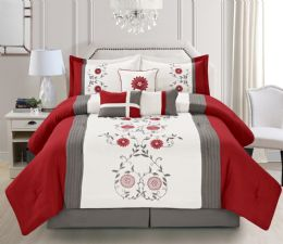 4 Units of MIA QUEEN RED 7 PIECE COMFY BEDDING SET - Comforters & Bed Sets