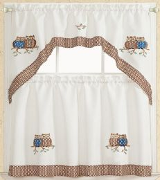 24 Units of OWLS BROWN KITCHEN WINDOW 3 PIECE SET - Home Decor