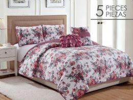 6 Units of KARINA FULL QUEEN 5 PIECE QUILT SET - Comforters & Bed Sets