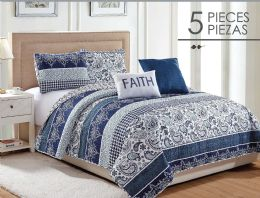 6 Units of CARRY FULL QUEEN 5 PIECE QUILT SET - Comforters & Bed Sets