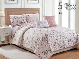 6 Units of ROSE GARDEN FULL QUEEN 5 PIECE QUILT SET - Comforters & Bed Sets