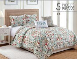 6 Units of EVANGELINE FULL QUEEN 5 PIECE QUILT SET - Comforters & Bed Sets