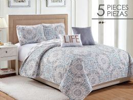 6 Units of CHANTAL FULL QUEEN 5 PIECE QUILT SET - Comforters & Bed Sets
