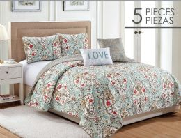 4 Units of EVANGELINE KING SIZE 5 PIECE QUILT SET - Comforters & Bed Sets