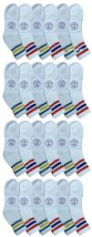 24 Units of Yacht & Smith Wholesale Bulk Womens Mid Ankle Socks, Cotton Sport Athletic Socks - Size 9-11, (White with Stripes, 24) - Womens Ankle Sock