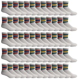60 Units of Yacht & Smith Wholesale Bulk Womens Mid Ankle Socks, Cotton Sport Athletic Socks - Size 9-11, (White with Stripes, 60) - Womens Ankle Sock