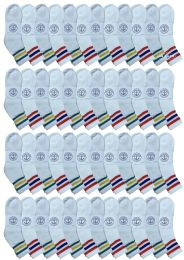 48 Units of Yacht & Smith Wholesale Bulk Womens Mid Ankle Socks, Cotton Sport Athletic Socks - Size 9-11, (White with Stripes, 48) - Womens Ankle Sock