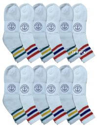 12 Units of Yacht & Smith Wholesale Bulk Womens Mid Ankle Socks, Cotton Sport Athletic Socks - Size 9-11, (White with Stripes, 12) - Womens Ankle Sock