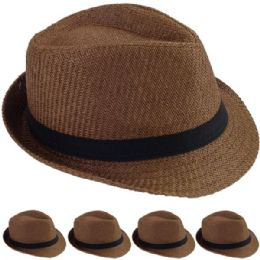 24 Units of STRAW FEDORA HAT IN BROWN - Fedoras, Driver Caps & Visor