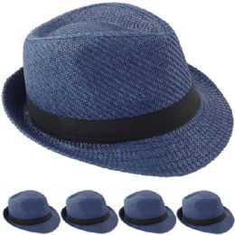 24 Units of STRAW FEDORA HAT IN BLUE - Fedoras, Driver Caps & Visor