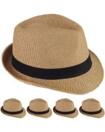 24 Units of STRAW FEDORA HAT IN CAMEL - Fedoras, Driver Caps & Visor