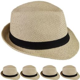 24 Units of STRAW FEDORA HAT IN BEIGE - Fedoras, Driver Caps & Visor
