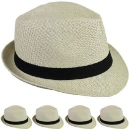 24 Units of STRAW FEDORA HAT IN IVORY - Fedoras, Driver Caps & Visor