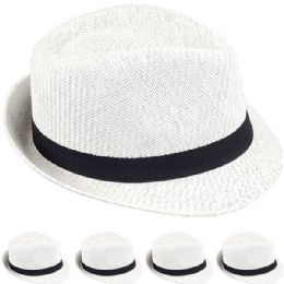 24 Units of STRAW FEDORA HAT IN WHITE - Fedoras, Driver Caps & Visor