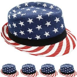 24 Units of FEDORA HAT IN AMERICAN FLAG PRINT - Fedoras, Driver Caps & Visor