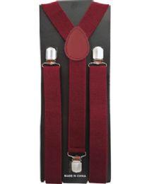12 Units of MAROON COLORED SUSPENDERS - Suspenders