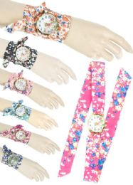 36 Units of WOMENS FLORAL TIE WATCH - Fedoras, Driver Caps & Visor