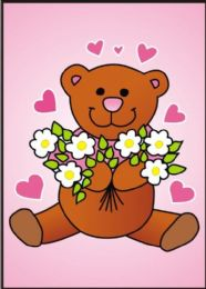 10 Units of Medium Happy Teddy Bear Sand Painting Card - Arts & Crafts