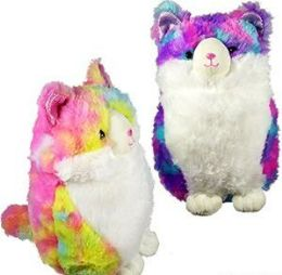 24 Units of Plush Tie Dyed Chubby Cats - Plush Toys
