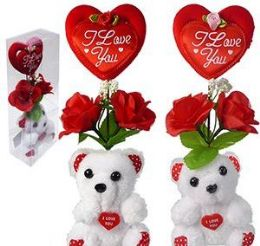60 Units of Plush Love You Bears With Heart And Silk Roses - Valentines