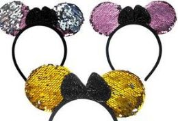 90 Units of Flip Sequin Mouse Ear Headbands - Costumes & Accessories
