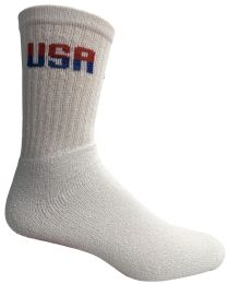 240 Units of Yacht & Smith Men's USA White Crew Socks Size 10-13 Bulk Buy - Men's Socks for Homeless and Charity