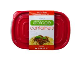 18 Units of 3 Pack Plastic Rectangular Food Container - Food Storage Containers
