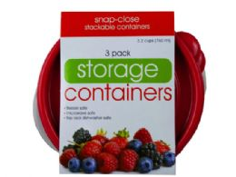 36 Units of 3 Pack Plastic Round Food Container - Food Storage Containers