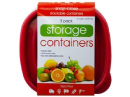36 Units of 3 Pack Plastic Deep Square Food Container - Food Storage Containers