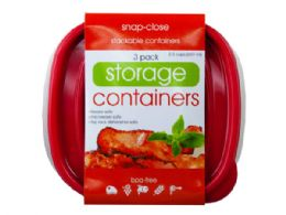 36 Units of 3 Pack Plastic Square Food Container - Food Storage Containers