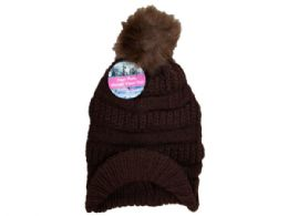 36 Units of Coffee Knit Visor Beanie with Faux Fur Pom - Winter Beanie Hats