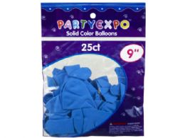 72 Units of 25 Count 9 Inch Balloons in Light Blue - Balloons & Balloon Holder