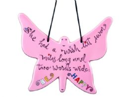 27 Units of Be Happy Pink Butterfly Ceramic Ornament - Christmas Ornament